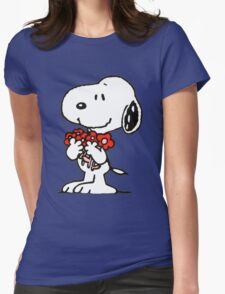 Snoopy Flowers Womens T-Shirt