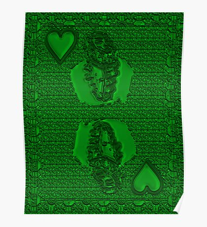 Green King of Hearts Poster