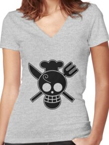 Sanji - OP Pirate Flags Women's Fitted V-Neck T-Shirt