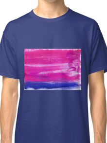 Hand painted watercolor abstract blur. Indigo and pink Classic T-Shirt