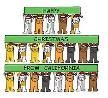 Cats in Santa hats Happy Christmas from California. by KateTaylor