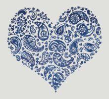 Blue Brocade Paisley Heart T-Shirt