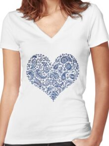 Blue Brocade Paisley Heart Women's Fitted V-Neck T-Shirt