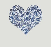 Blue Brocade Paisley Heart Womens Fitted T-Shirt