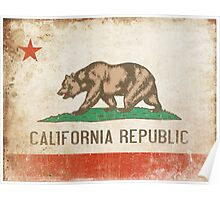 Poster with Distressed California Flag Poster