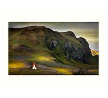 Last light on Vik kirkja Art Print