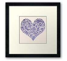 Purple Brocade Paisley Heart Framed Print