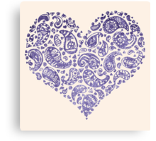 Purple Brocade Paisley Heart Canvas Print