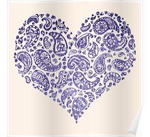 Purple Brocade Paisley Heart Poster