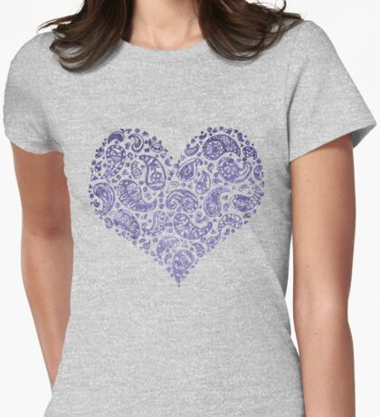 Purple Brocade Paisley Heart Womens Fitted T-Shirt
