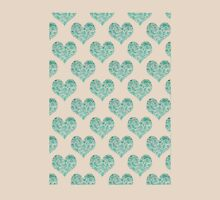 Emerald Brocade Paisley Heart Pattern Womens Fitted T-Shirt