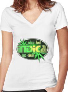 Indica marijuana  Women's Fitted V-Neck T-Shirt