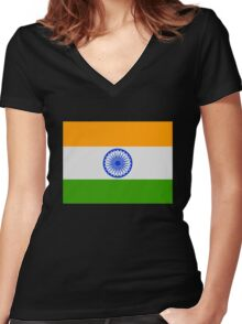Flag of India Women's Fitted V-Neck T-Shirt