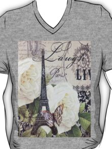 vintage scripts white rose paris eiffel tower T-Shirt