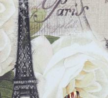 vintage scripts white rose paris eiffel tower Sticker