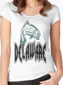 FISH DELAWARE VINTAGE LOGO Women's Fitted Scoop T-Shirt