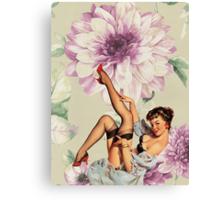 vintage purple floral retro pin up girl Canvas Print