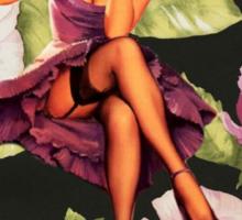 vintage purple roses pin up girl Sticker