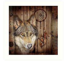 western country native dream catcher wolf art Art Print
