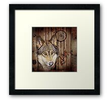 western country native dream catcher wolf art Framed Print