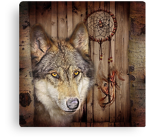 western country native dream catcher wolf art Canvas Print