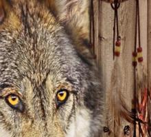 western country native dream catcher wolf art Sticker