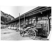 Wagon and wood pile Poster