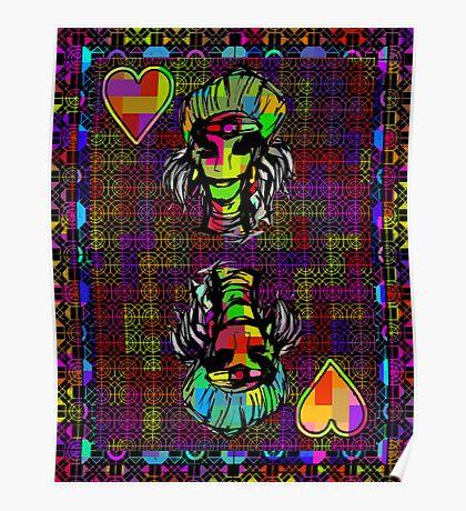 Pixel Queen of Hearts Poster