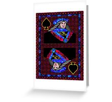 Pixel Queen of Spades Greeting Card