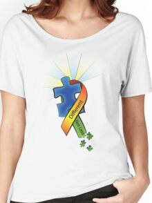 Autism Ribbon with Puzzle Peaces Women's Relaxed Fit T-Shirt