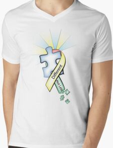 Autism Ribbon with Puzzle Peaces Mens V-Neck T-Shirt