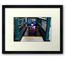 Captain America emerges from NYC subway Framed Print