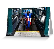 Captain America emerges from NYC subway Greeting Card