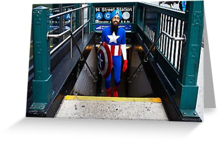 Captain America emerges from NYC subway by sikhcaptain