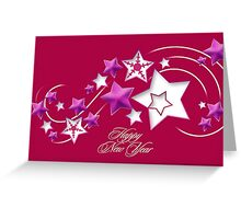 Fushia and Red Happy New Year Shooting Stars Greeting Card