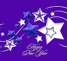 Blue and Purple Happy New Year Shooting Stars  by taiche