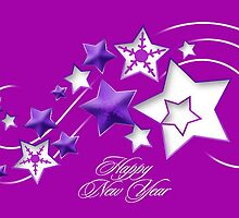 Fucshia and Purple Happy New Year Shooting Stars by taiche