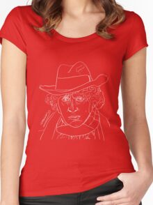 Tom Baker - 4th Doctor (white) Women's Fitted Scoop T-Shirt