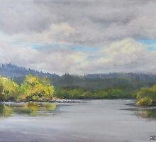 Original Plein Air Landscape Painting - Summer Sky by Karen Ilari