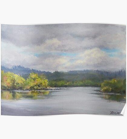 Original Plein Air Landscape Painting - Summer Sky Poster