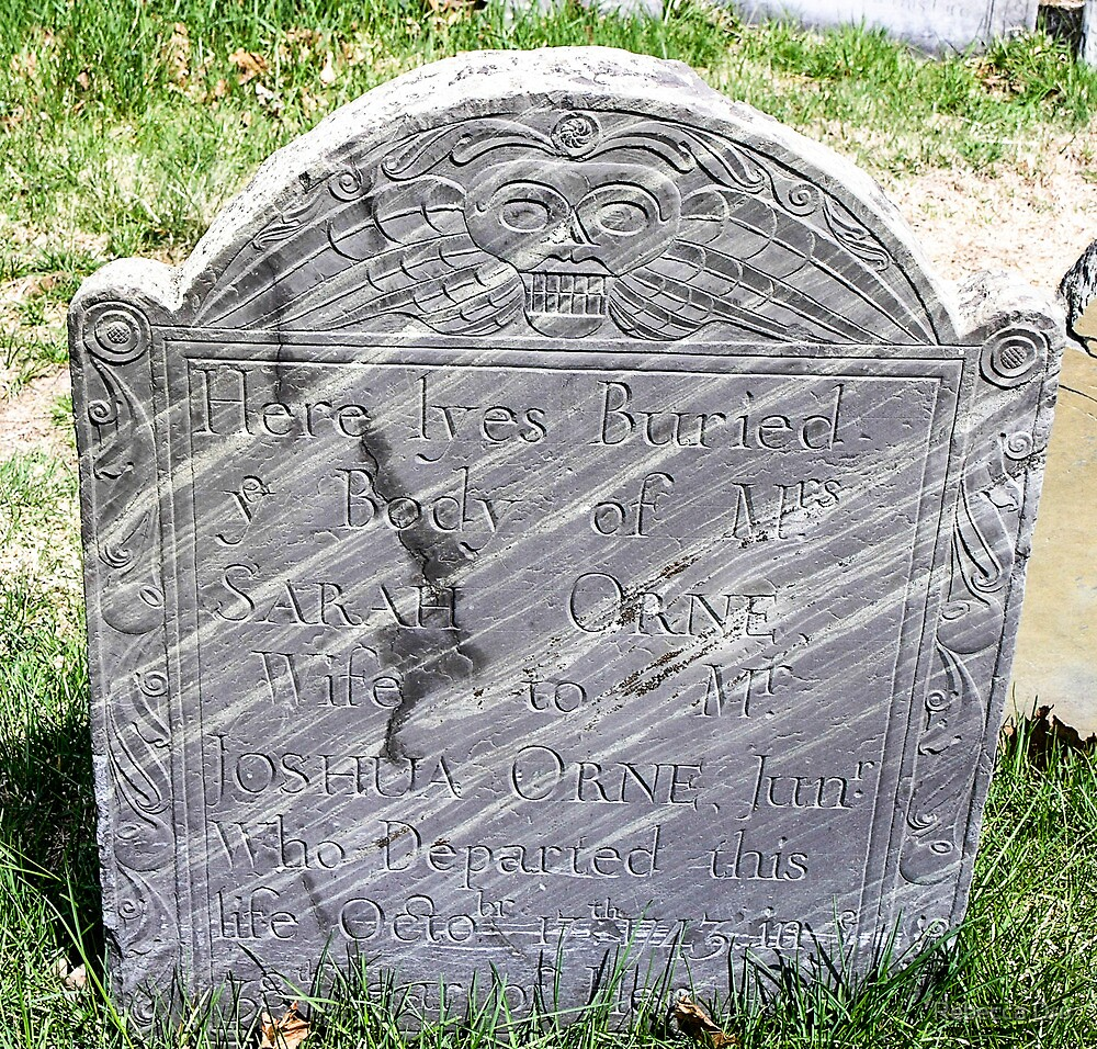 Gravestone on Old Burial Hill by Rebecca Dru