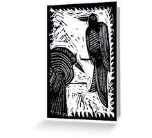 Black Birds Original Hand Pulled Linoleum Print Greeting Card