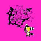Music Demon Pink iPad Case (Black Outline) by NeroStreet