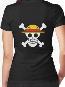 Luffy - OP Pirate Flags - Colored Women's Fitted V-Neck T-Shirt