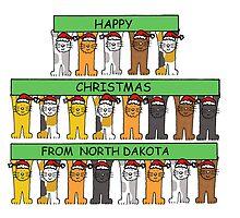 Cats in Santa hats Happy Christmas from North Dakota. by KateTaylor