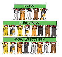 Cats in Santa hats Happy Christmas from Wisconsin. by KateTaylor