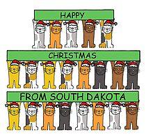 Cats in Santa hats Happy Christmas from South Dakota. by KateTaylor