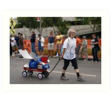 THE LADY PULLING THE PROJECT ANGEL FOOD WAGON OF LOVE Art Print