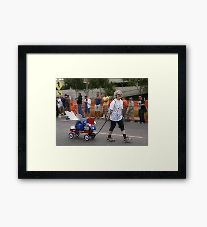 THE LADY PULLING THE PROJECT ANGEL FOOD WAGON OF LOVE Framed Print