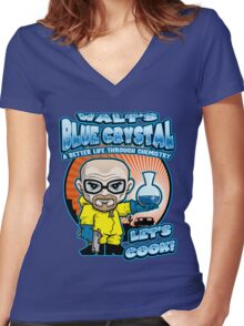 Walt's Blue Crystal Women's Fitted V-Neck T-Shirt